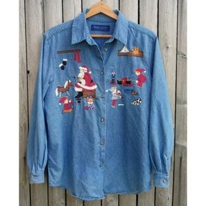 90s / embroidered denim Christmas button down